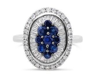 18K Sapphire & Diamond Cluster White Gold Ring
