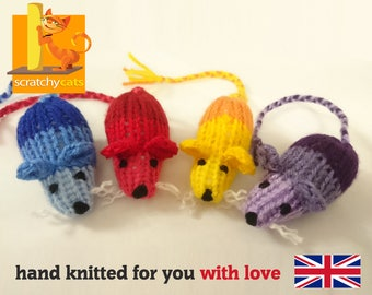 Catnip Mice Cat Toy, Knitted by Hand, 4 Colours Available, Play Mouse, Quality Item made GREAT in Great Britain!