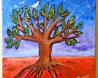 Tree of Life, Peace Dove, Original Acrylic Painting, Canvas, Shalom Artwork, Peace Dove with Olive Branch, Judaica Art, 8X8 Inch, Wall Art