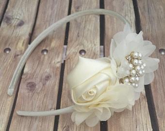 floral headband, hard headband, vintage headband, ivory headband, ivory flower headband, flower girl, flower girl headband