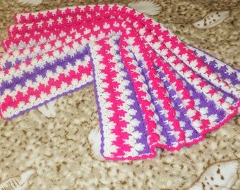 Crochet Baby Blanket Baby Shower Crochet Baby Blanket with Baby Beanie Newborn Hat  Baby Shower Gift Photography Prop New Baby gift