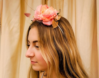 Betty Romantic Pink Rose and Feather Headdress/Wedding Guest Hair/Flower Crown Pink