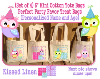Personalized Owl Birthday Party Treat Favor Gift Bags Mini Cotton Totes Children Kids Guests Owl Party Favor Gift Bags - Set of 4