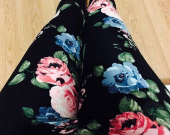 """Leggings for women, ultra comfortable in """"brushed poly"""" pink and blue flowers on black polyester/spandex"""