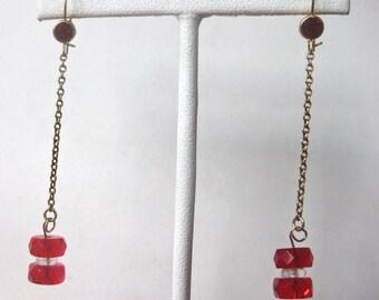 Pair of Art-Deco Brass Briolette Earrings