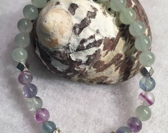 Fluorite and Green Aventurine Bracelet