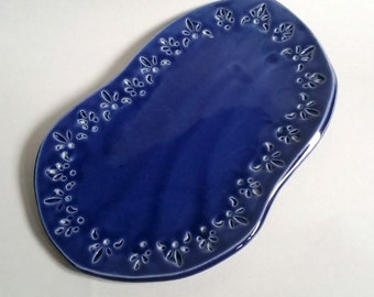 Small Plate in Royal Blue - Handmade Pottery - Organic Shape - Appetizer Platter - Sushi Plate