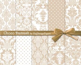 Choco Damask - Instant Download, Digital damask paper, damask patterns, damask background, wedding invitations, scrapbook paper, brown