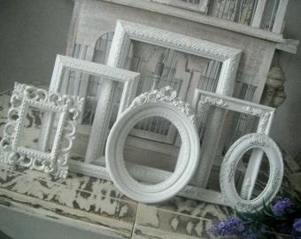 6 piece dove white frame set  - Shabby decor