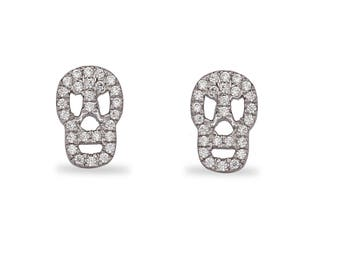 Silver Skull Earrings,Skull Stud Earrings,Boho Jewelry,Pave CZ Studs,Skull Jewelry,Halloween Jewelry,Small Skull Studs,Gift for Daughter