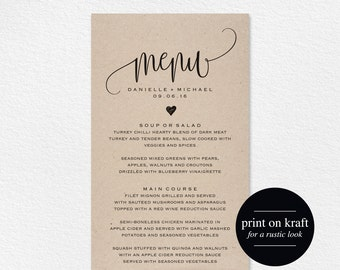Rustic Wedding Menu, Wedding Menu Template, Menu Cards, Menu Printable, Rustic Wedding, Wedding Dinner Menu, PDF Instant Download #BPB203_4