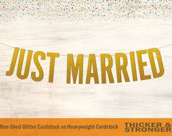 Just Married Banner, Block Letters - Wedding Banner, Just Married Sign, Wedding Decor, Wedding Sign