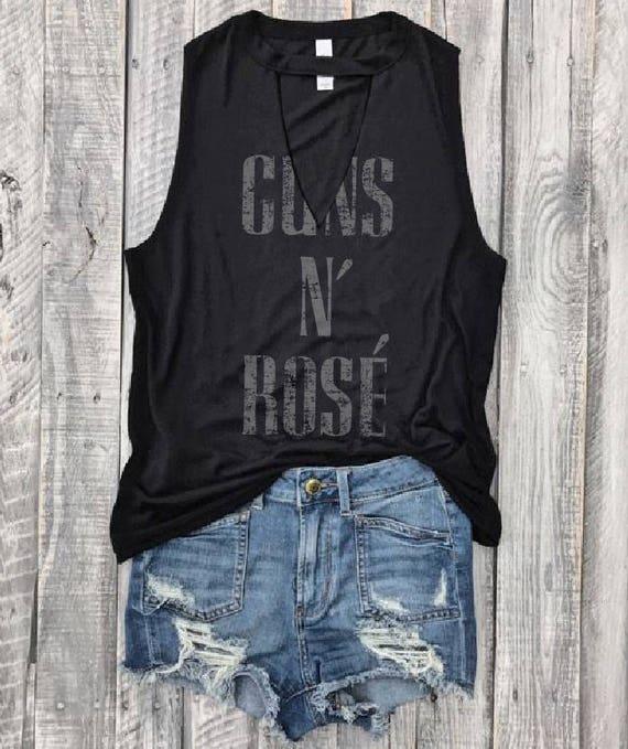 Guns N' Rose'...Petite Fit, Wine, Choker Neck Muscle Tee, Raw Edge Armholes, Vintage Concert T Shirt, Guns N' Roses,Chardonnay,Merlot by Etsy