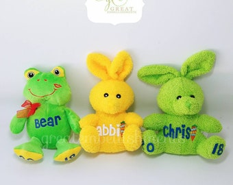 Easter Personalized Bunnies and Frogs, Kids Easter Gift, Easter 2017,  Custom Easter Basket Stuffer, Plush Easter Basket Filler