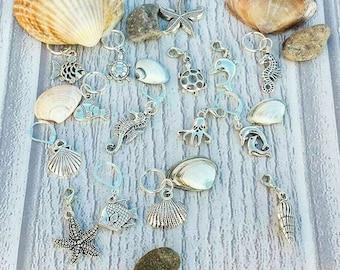 Seaside Stitch Markers// Sea Life Progress Keepers// Fish Knitting Markers