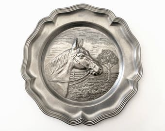 Pewter Horse Plate - Horse Gifts - Equestrian Decor - Vintage Wall Plaque - Gift for Horse Lover Horse Head Horse Figurine Horseback Riding