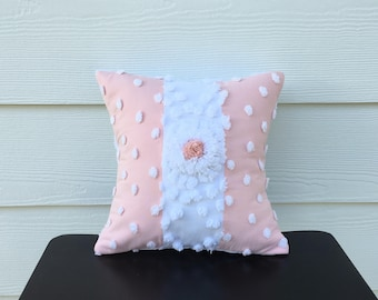 Peachy pink pillow cover, SPRING DAFFODIL vintage chenille cushion cover, 12 X 12 cottage chic shabby style pillow case, spring pillow sham