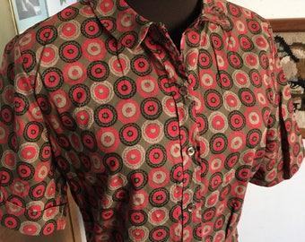 Vintage Blouse Mid Century Style Top Peter Pan Collar Short Sleeve Geometric Print Button Front Dutchman
