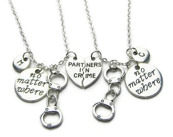 2 Partners In Crime Necklaces, 2 Best Friends Necklaces, No Matter Where Necklaces, Partners In Crime No Matter Where Necklaces,Personalized