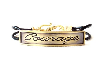 Round Leather Bracelet - Affirmation Word - Gold, Black - The Basics: 2mm Double Strand Courage