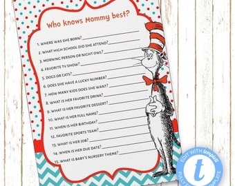 Cat in Hat Who Knows Mommy Best? | Baby Shower Games | Instant Download | Printable Digital File | Templett | BSI242Mommy