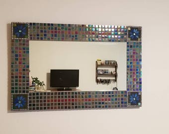 Large colorful mosaic mirror, with iridescent tiles, glass tiles and small ceramic tiles, with two different colored grout.