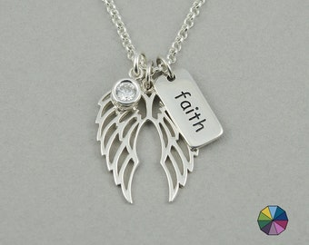 Angel Wing Necklace Angel Wings Charm Necklace mothers day gift christian jewelry birthstone necklace christian gifts gift for mom