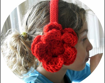 Ear Warmer Headband, Crochet Flowers, Girls Red Ear Warmers, 4 years to 9 years, Crocheted Ear Muffs, Knit ear warmers, Headband ear warmers