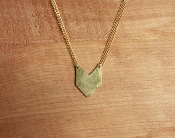 Tiny Chevron Necklace, brass gold fill
