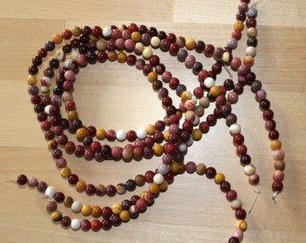 Mookaite 6mm Smooth Round Beads A Grade - 16 inch strand