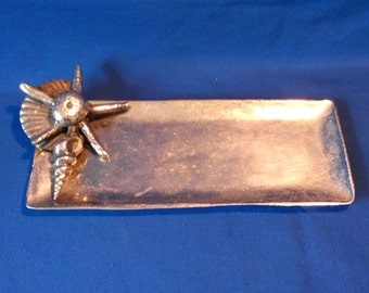 Vintage marine-style tray for letters silver tone aluminum tray Coastal living decor