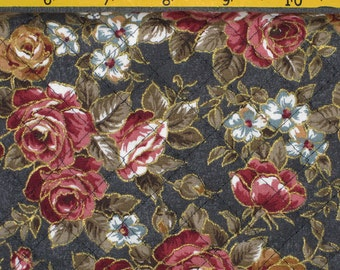 Pre Quilted Fabric Half Meter Cut Roses Design Forest Green
