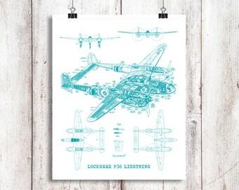 """P38 Lightning blueprint, Blueprint Art, Instant Download, Airplane, Teal Decor, P38 Lightning, Blueprints, Aviation Art, 8x10"""", 11x14"""""""