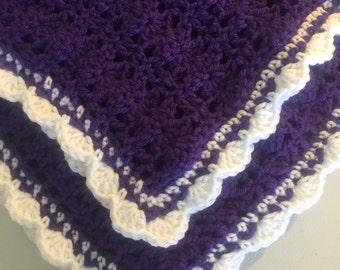 Handmade Crochet Baby Blanket Girl Blanket Newborn Swaddle Purple Blanket White Blanket Afghan