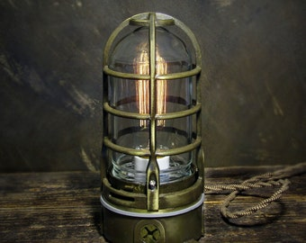Industrial Lamp Antique Brass cage light, steampunk metal touch lamp, modern Edison table lamp with dimmer, nautical decor 120v-240v