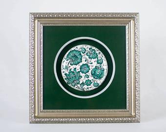 Handmade Ceramic (Iznik ceramic) Wall Decor with Silver Frame