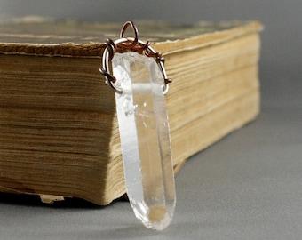 Quartz Crystal Point Necklace. Unpolished quartz crytstal pendant. Boho jewelry