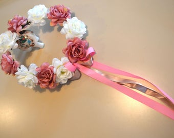 Pink and white flower girl crown wreath, flower headband, wedding crown, head piece, head wreath, hair accessories, creatingwithni