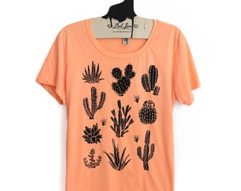 2XL-  Tri-Blend Peach Fitted Crew Neck Tee with Cactus Screen Print