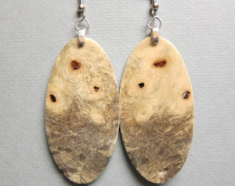 Buckeye Burl Exotic Wood Large Long Earrings repurposed ecofriendly Handcrafted ExoticWoodJewelryAnd