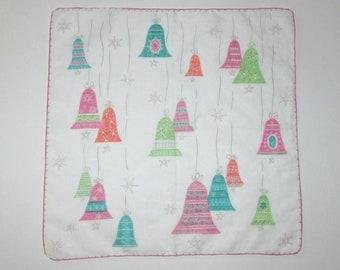 Vintage Mid Century Christmas Handkerchief / 50s Hanky Hankie Handkerchief With Hanging Christmas Ornaments and Starburt Design