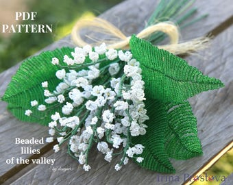 Beaded flowers Lily of the valley Seed bead tutorials Flower bead tutorial Beading tutorial pdf tutorial French beaded flower Spinner bead