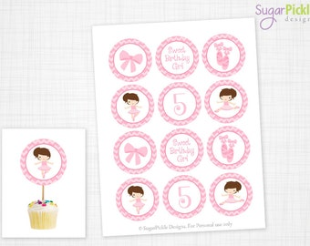 Ballet Cupcake Toppers, 5th Birthday, Ballerina Birthday Toppers, Ballerina Toppers, Ballerina Party Decorations - 2.25 inch