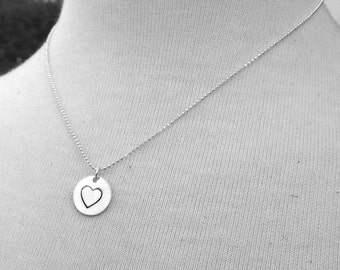 Large Hand Stamped Heart Necklace, Large Heart Necklace, Sterling Silver Heart Necklace, Heart Jewelry, Charm Necklace, Heart Pendant, Heart