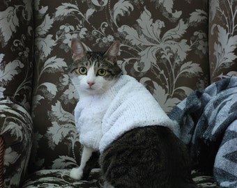 Jumper for Cat, White hand knitted sweater, Clothes for cats, Knit pet top, Handmade clothes for pets, Wedding cat sweater