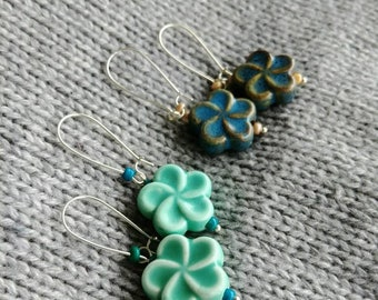 Silver Earrings with Blue Flower Ceramic Beads