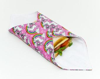Reusable Sandwich Wrap, Lunch Wrap, Unicorn / Rainbow kids design, Waterproof, Eco Friendly, Waste Free