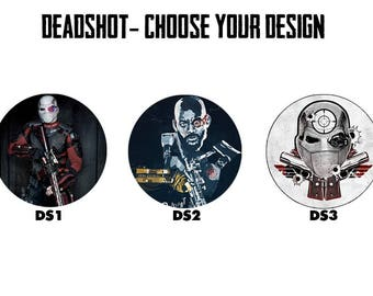 "DEADSHOT 2.25"" Button Style Pins, Mirrors, Magnets, Bottle Openers & Keychains"