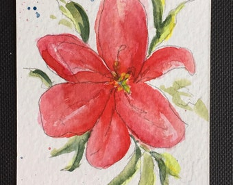 Flowers ORIGINAL Miniature Watercolour Floral Lily painting flower art ACEO Watercolor For him For her Home Decor Wall Art Gift Idea