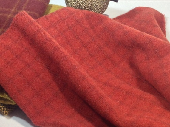 Lipstick Red, Wool Fabric for Rug Hooking and Applique, Select-a-Size, J719